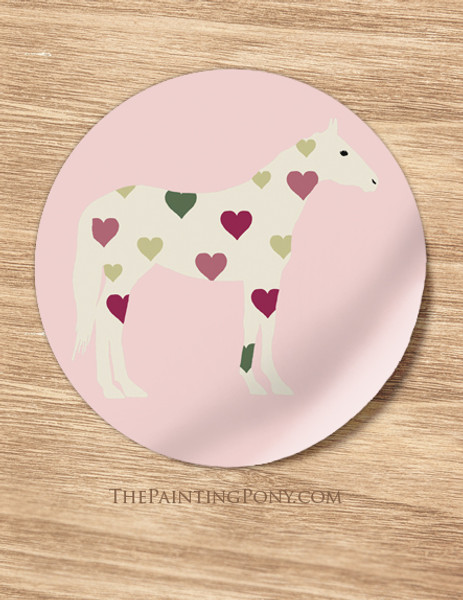 Sweet Heart Horse Lover Valentines Equestrian Stickers
