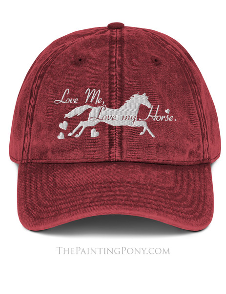 Love Me, Love My Horse Equestrian Emroidered Hat