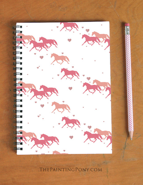 Trotting Ponies and Hearts Pattern Equestrian Spiral Notebook