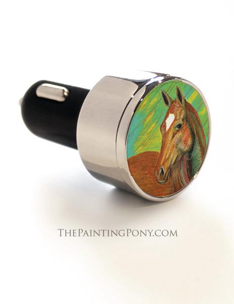 Chestnut Horse Head Art USB Car Charger