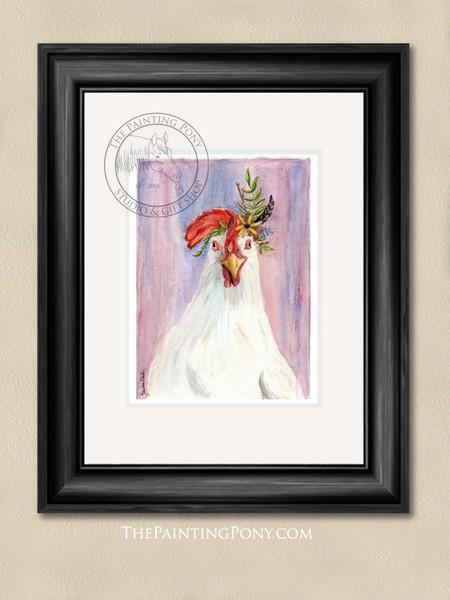 Bohemian Chicken Watercolor Art Print