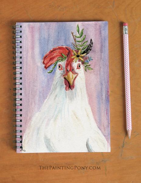 Bohemian Chicken Art Spiral Notebook