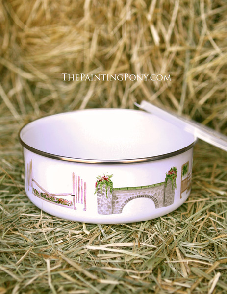 Horse Jump Pattern Equestrian Themed Metal Enamel Pet Bowl with Lid
