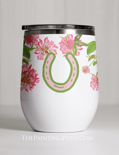Clover And Horse Shoes Equestrian Stemless Wine Tumbler