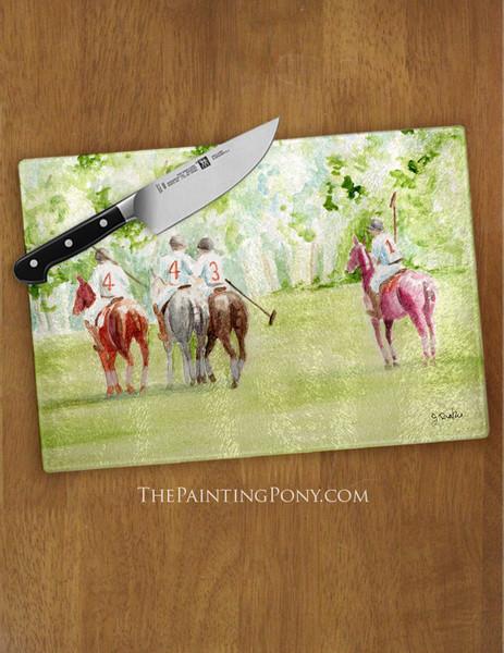 Polo Horses Watercolor Equestrian Glass Cutting Board