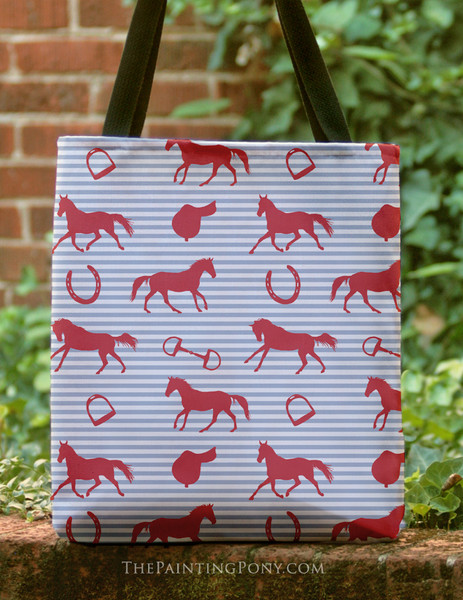 Horses and Saddles Pattern Equestrian Tote Bag