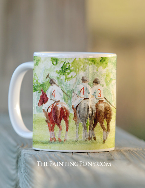 Watercolor Polo Players Equestrian Coffee Mug