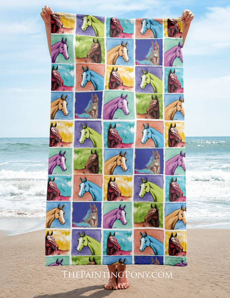 Colorful Horse Head Pattern Equestrian Beach Towel
