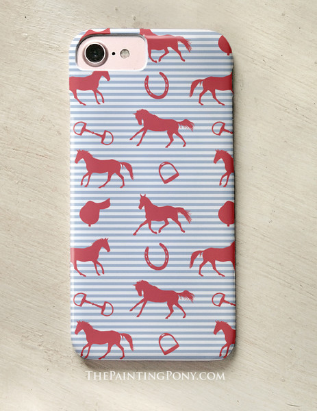 Red, White, and Blue Striped Horse Pattern Phone Case