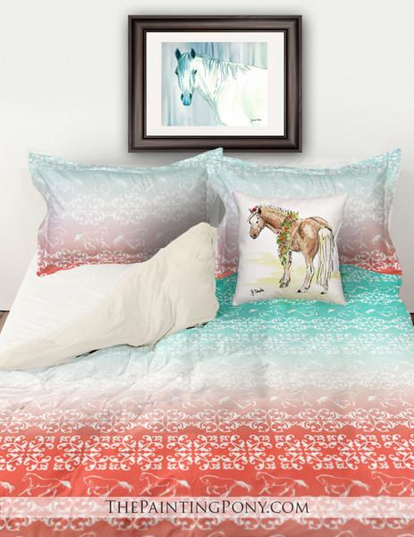 Galloping Horses Damask Pattern Equestrian Bedding Set