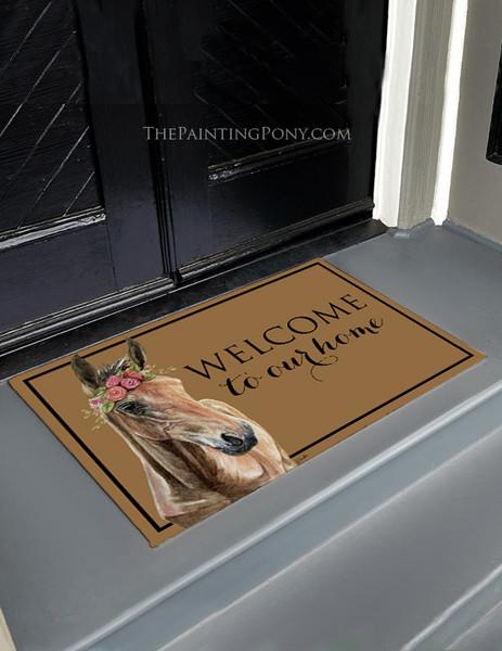 Bohemian Horse Head Equestrian Welcome Door Mat