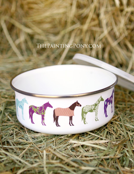 Colorful Fun Horse Lover Enamel Pet Bowl with Lid