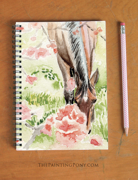 Apple Blossom Horse Art Equestrian Spiral Notebook