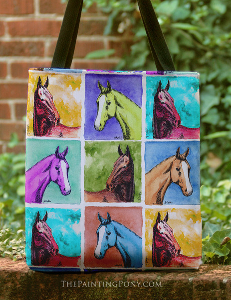 Colorful Horse Head Pattern Equestrian Tote Bag