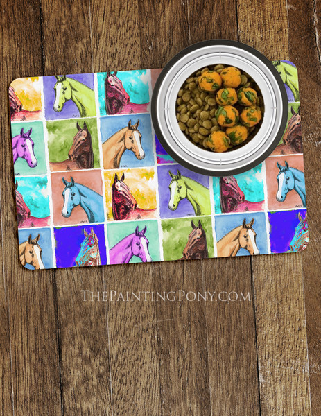 Colorful Horse Head Pattern Pet Food Mat