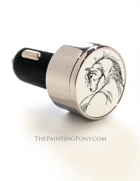 Horse Head Sketch Equestrian USB Car Charger