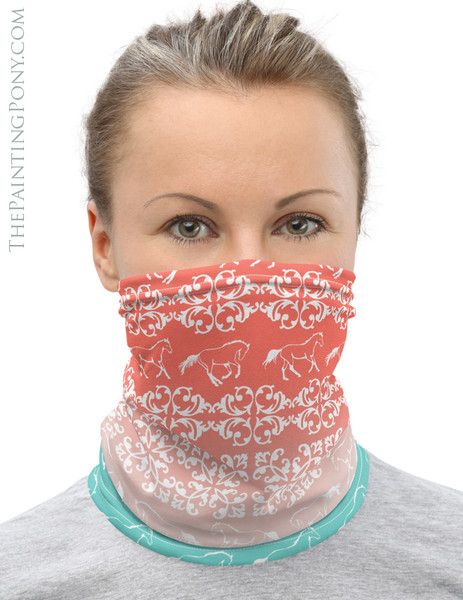 Ombre Damask Horse Pattern Equestrian Neck Gaiter