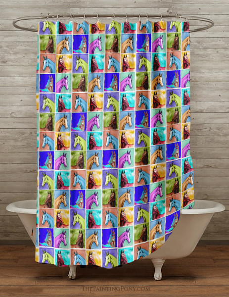 Colorful Horse Head Pattern Equestrian Shower Curtain