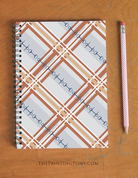 Plaid Horse Bits Pattern Equestrian Spiral Notebook