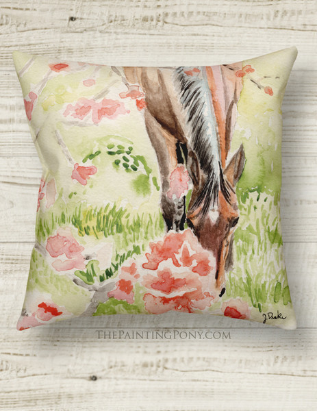Horse with Apple Blossoms Country Throw Pillow