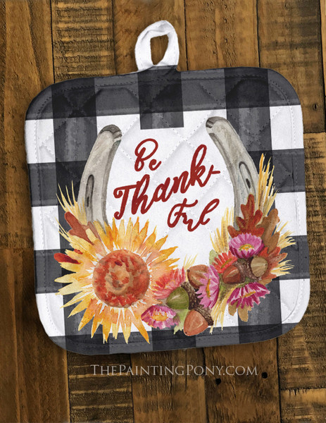Be Thankful Country Horse Shoe Art Pot Holder