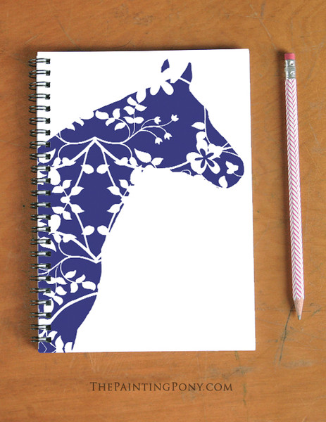 Blue Floral Horse Lover Equestrian Spiral Notebook