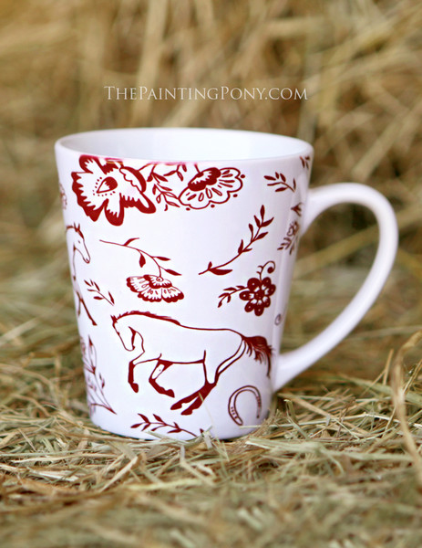 Country Floral Horse Pattern Equestrian Latte Coffee Mug