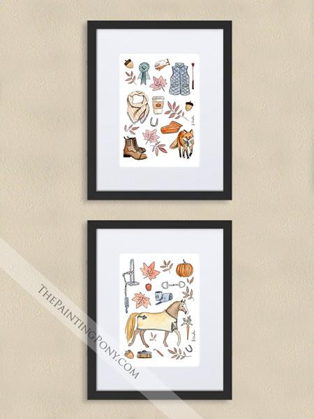 Fall Equestrian Pony and Fox Art Print Set