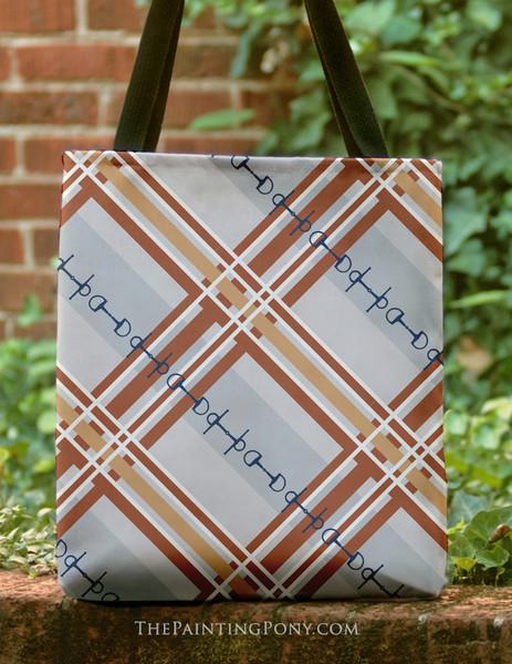 Fall Plaid Horse Bit Pattern Equestrian Tote Bag