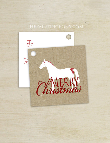 White Holiday Horse Square Gift Tags (10 count)