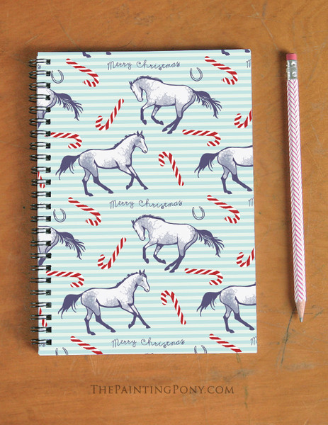 Candy Canes and Ponies Equestrian Christmas Spiral Notebook