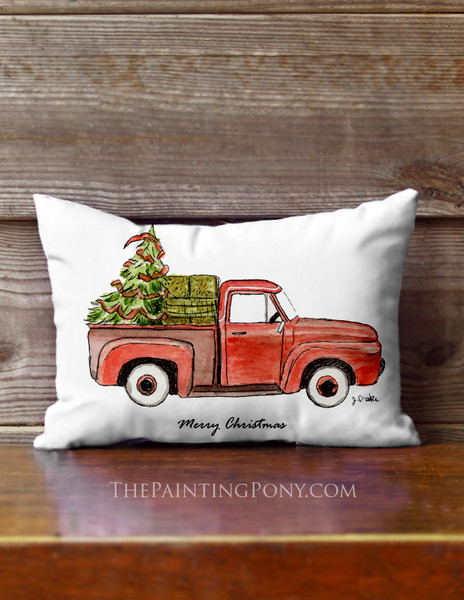 Old Red Truck or Horse Trailer Christmas Accent Pillow