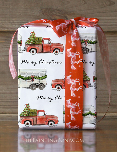 Old Red Farm Truck and Trailer Christmas Gift Wrapping Paper