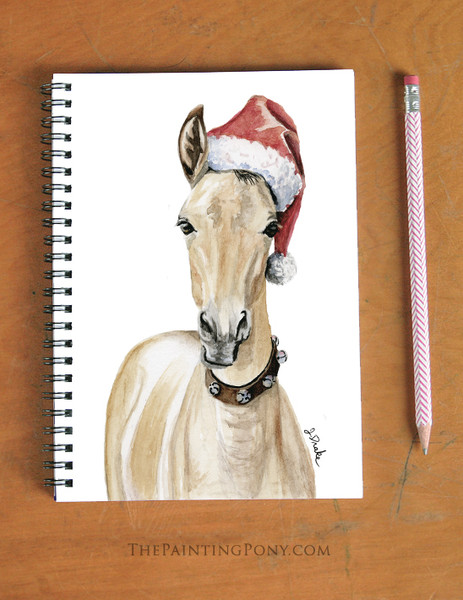 Christmas Santa Horse Foal Equestrian Spiral Notebook