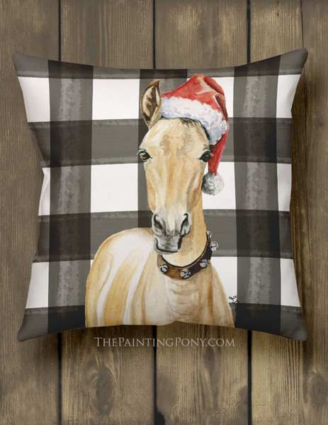 Christmas Santa Horse Foal Art Country Throw Pillow