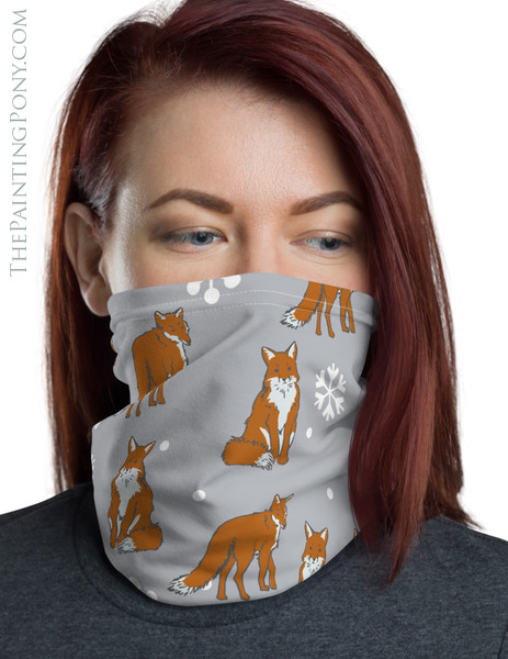 Foxes and Snowflakes Pattern Neck Gaiter