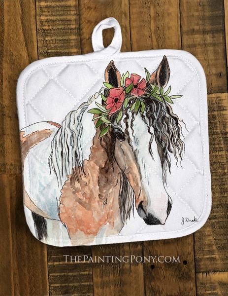 """Bohemian Horse Head Art """"Josie"""" Pot Holder"""