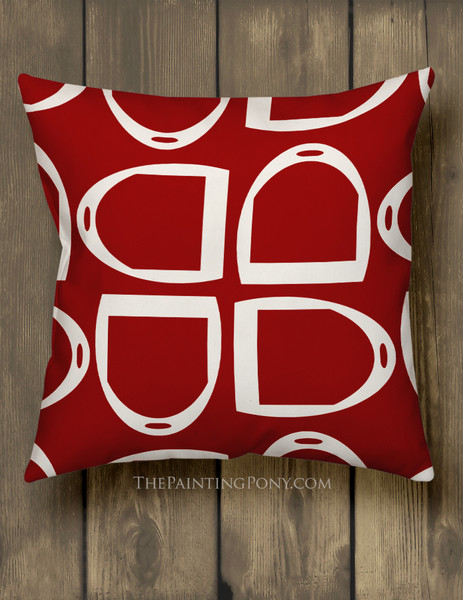 Modern Stirrup Pattern Equestrian Throw Pillow