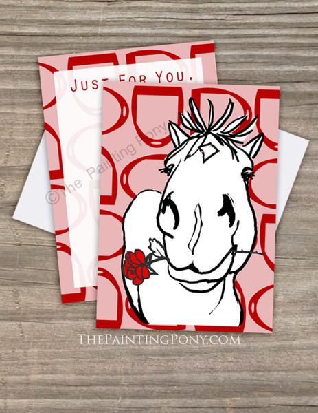 Cute Rose Pony Valentine's Day Flat Cards (10 pk)