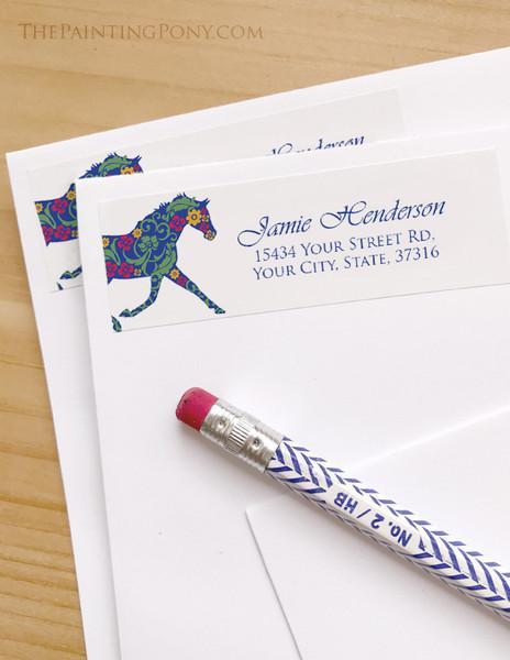 Colorful Floral Horse Equestrian Return Address Labels