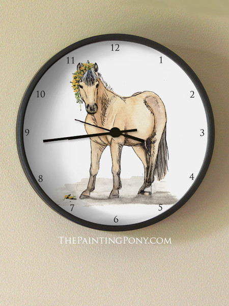 Cute Buckskin Pony Art Equestrian Wall Clock