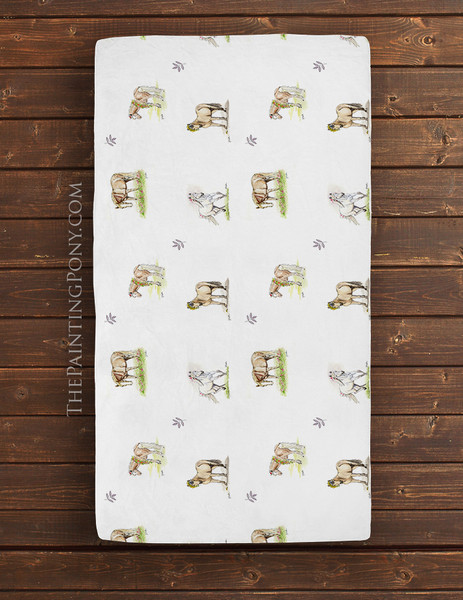 Whimsical Pony Pattern Equestrian Baby Crib/Changing Pad Sheet