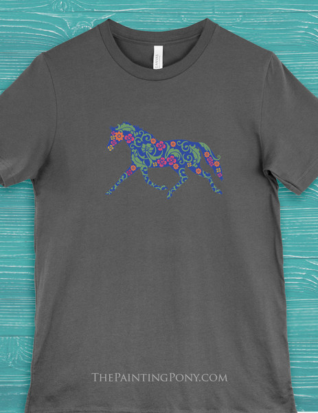 Trotting Floral Horse Lover Equestrian Tee T-Shirt