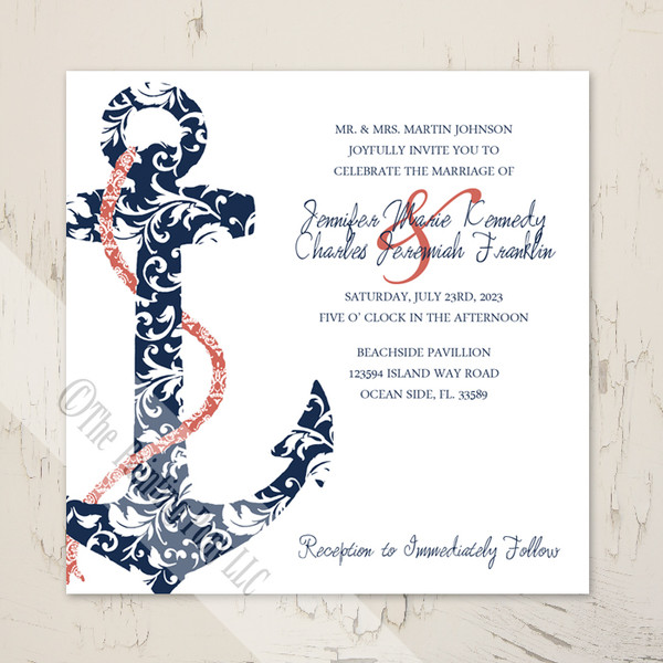 Navy blue and coral pink ship anchor beach wedding invitations