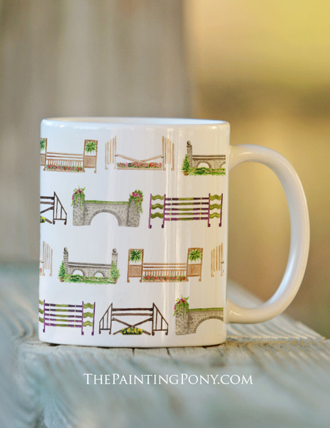 Horse Jump Pattern Equestrian Coffee Mug