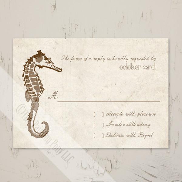 Sea horse beach wedding response card or rsvp.