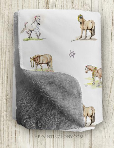 Whimsical Pony Pattern Equestrian Fleece Throw Blanket