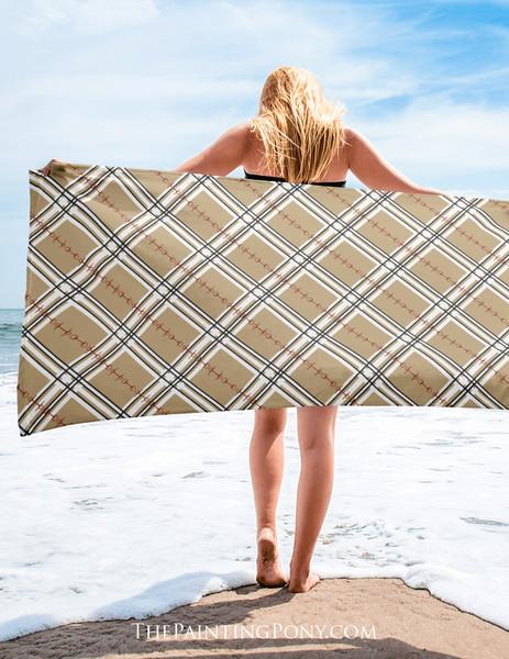 Plaid Horse Bit Pattern Equestrian Beach Towel