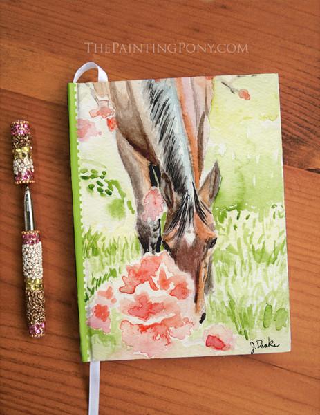 Apple Blossoms Horse Art Equestrian Designer Hardbound Journal