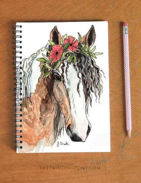 "Curly Bohemian Horse Head Art ""Josie"" Spiral Notebook"